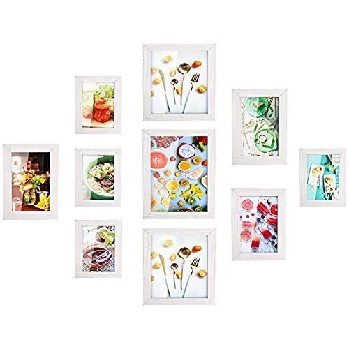 MVPower Set de 10 marcos de fotos Multiples para Pared, con Diferentes Tamaños de PDF, Decoración para Salón, Dormiorio, Pasillo, Regalo para la Navidad y el Año Nuevo(Blanco) ⭐