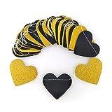 Monbedos - 1 pancarta de purpurina dorada con forma de corazón y purpurina negra de 10 pies de decoración total para árbol de Navidad, novia, ducha, cumpleaños, decoración de boda 3 m Black + Gold