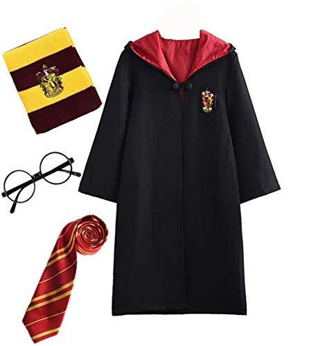 Disfraz de Harry Potter para niño Adulto Unisex Capa Disfraz Cosplay Conjunto Traje Varita mágica Corbata Bufanda Gafas Gafas Marco Sombrero Camisa de roca Carnaval Disfraz Carnaval Halloween 105-223