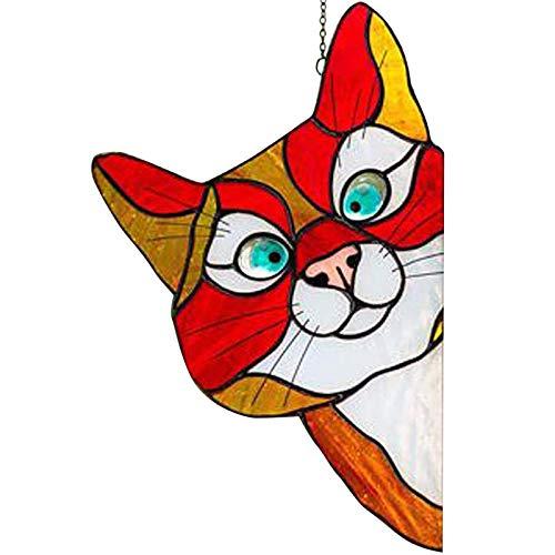 ACEMIC Juego De 3 Pegatinas De Vidrieras para Gatos, Decoraciones De Ventanas Pintadas, Personalización De Etiquetas De Gatos Siameses para Casas Y Automóviles,A