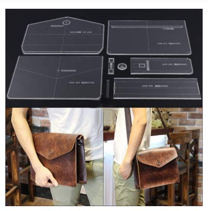 N / A 1 Set DIY Handmade Acrylic Leather Men Crossbody Bag Shoulder Bag Pattern Stencil Template