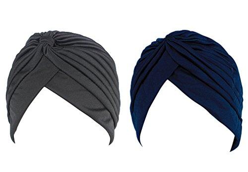 Hikong hikong 2pcs Frauen muslimische Kopftuch Indische Turban-Hüte Turbanmütze Kopfbedeckung Schlafmütze für Haarverlust, Chemo, Krebs Cap Chemotherapie,Onesize
