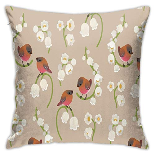 Brown Capped Rosy Finch Home Decorative Throw Pillow Covers for Sofa Couch Cushion Pillow Cases 18x18 Inch