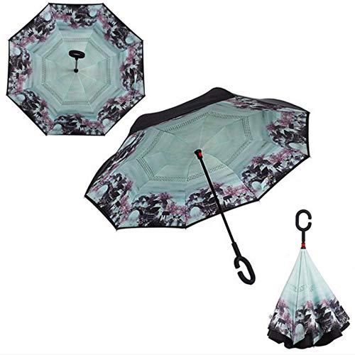Guarda Chuva Paraplu, omgekeerd, UV-bescherming, 2 lagen, opvouwbaar, voor Inside Out Sunny Rain, 008