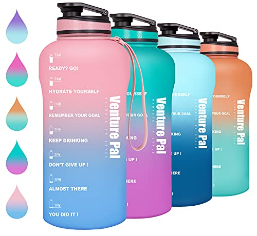 Venture Pal Half Gallon/64oz Motivational Water Bottle with Time Marker & Removable Strainer, Leakproof BPA Free Water Jug to Remind You Drink More Water, Hydrate in Style-Pink/Blue Gradient