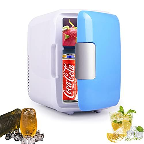 MOZX Mini Frigorífico 8 Litros/10 Latas, Mini Refrigerador con Enfriar Y Calentar, Mini Neveras 220V/12V, Nevera Pequeña Y Silenciosa para Skincare, Alimentos, Bebidas, Cuidado De La Piel,4l