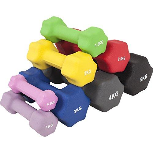 GORILLA SPORTS® Kurzhantel-Set Neopren 1-10 kg für Gymnastik, Aerobic, Pilates Fitness – 2er-Set 6 kg - 2 x3 kg