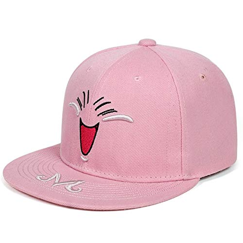 Neue M Brief Stickerei Kappe Smiley Hysteresen Baseballmützen Hip Hop Street Hat Fashion Street Dance Hüte (Color : Pink)