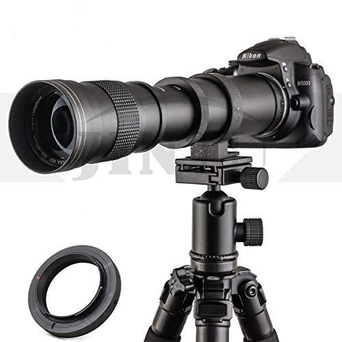 JINTU 420-800mm f/8.3 HD Manual Focus Telephoto Zoom Lens for Nikon SLR Digital Camera Lenses D5600 D5500 D5300 D5200 D5100 D3500 D3400 D3300 D3100 D3200 D7500 D7200 D7000 D7100 D750 D90 D850 + Bag