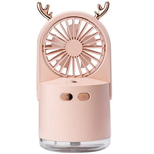 BOINN Ventilador USB PortáTil con Difusor de Aire Refrigerador Ventilador Escritorio Escritorio Ventilador Humidificador Rosa
