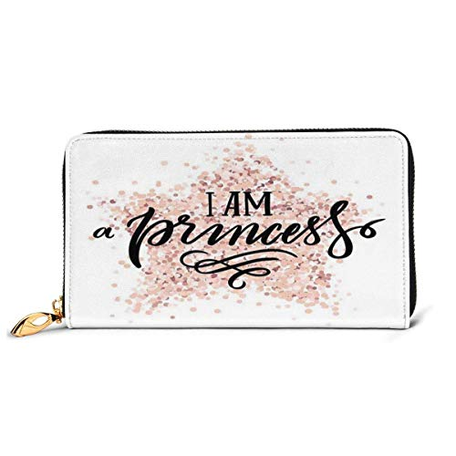 Women's Long Leather Card Holder Purse Zipper Buckle Elegant Clutch Wallet, Modern Calligraphic Quote On Dotted Background Hand Lettering,Sleek and Slim Travel Purse