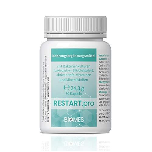 RESTART.pro Nahrungsergänzungsmittel mit Bakterienkulturen (Laktobazillen, Bifidobakterien), aktiver Hefe, Vitaminen und Mineralstoffen - 30 Kapseln - Nach Antibiotikaeinnahme