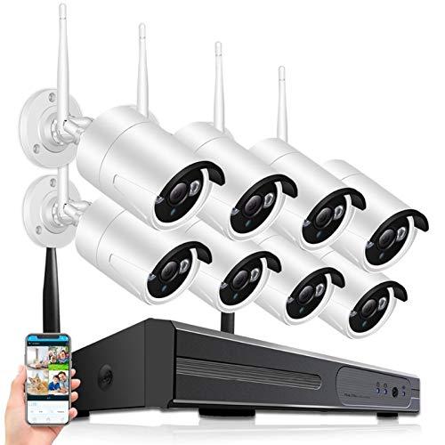 SCAYK 8ch CCTV Sistema CCTV inalámbrico 1080p NVR con 720p 1.0MP Cámara de WiFi a Prueba de Agua a Prueba de Agua 720P P2P Kit de vigilancia de la visión de Audio (Build-in HDD : None)
