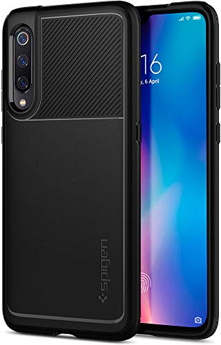 Spigen, Funda Compatible con Xiaomi Mi 9, [Rugged Armor] Absorción de Choque Resistente y diseño de Fibra de Carbono [Compatible con Carga Inalámbrica] - [Negro Mate]