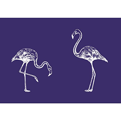 Rayher 45085000 Schablone 2 Flamingos, DIN A5, 1 Schablone Plus1 Rakel im, Div. Materialien, Blau, 26 x 16 x 0.1 cm