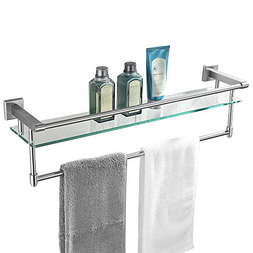 JQK Bathroom Glass Shelf, Stainless Steel Large Towel Rack with 24 Inch Bar, Towel Holder Brushed Wall Mount
