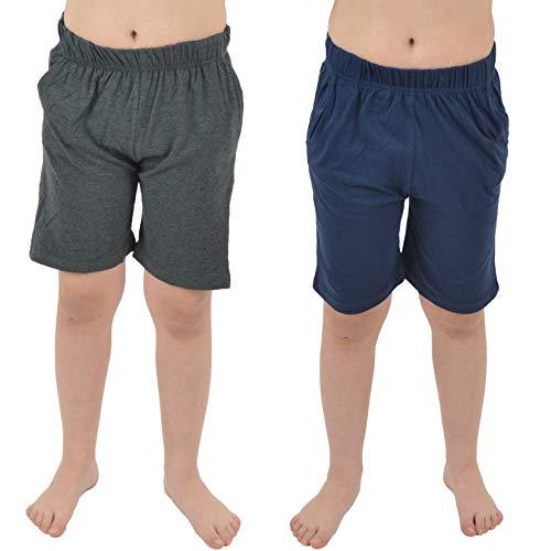 CityComfort Conjunto 2 Pantalones Cortos para niños | Paquete Doble en Azul Marino y carbón o Gris y Negro con Bolsillos para Deportes, Lounge, fútbol, Gimnasio (11/12 años, Marino y Gris Oscuro)
