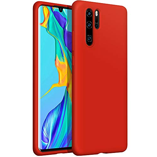 YATWIN kompatibel mit Handyhülle Huawei P30 Pro Hülle Silikon, Ultra Dünn Flüssig Silikon Hülle Huawei P30 Pro Hülle, Schutzhülle Huawei P30 Pro Case, 3-Layer Schutzhülle Rot
