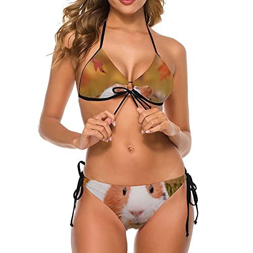 Bikini sexy de un hombro para mujer, de cintura alta, con cobaya, 2 piezas, correa ajustable, S-2XL