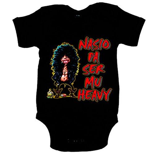 Body bebé Nacido para ser muy heavy - Negro, 6-12 meses
