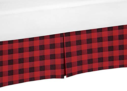 Sweet Jojo Designs Woodland Buffalo Plaid Pleated Queen Bed Skirt Dust Ruffle - Red and Black Rustic Country Lumberjack