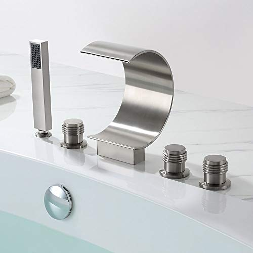 BULUXE Waterfall Roman Tub Filler Faucet in Brushed Nickel with Hand-Held Shower Head, Widespread Bathtub Faucet Set, Deck Mount 5-Holes 3-Handles Faucet in Modern Style Solid Brass