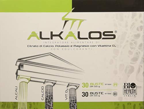 Alkalos di Biohealth Italia 01014 - Integratore Alimentare a Base di Citrato di Calcio, Potassio e Magnesio con Vitamine D - Confezione da 60 Bustine (30A + 30B)