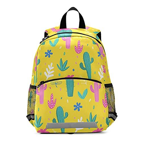 ISAOA - Mochila con riendas para niños y niñas, Cacti, hojas de palma, flores de la selva, mochila para niños, mochila para guardería, bolsa de viaje con clip para el pecho