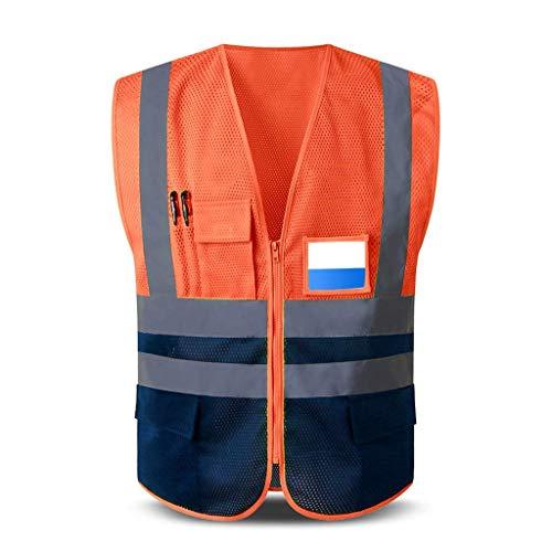 LLLKKK Chaleco de seguridad reflectante bicolor de red transpirable, ropa de trabajo con varios bolsillos, chaleco de seguridad para viajes por la noche, unisex