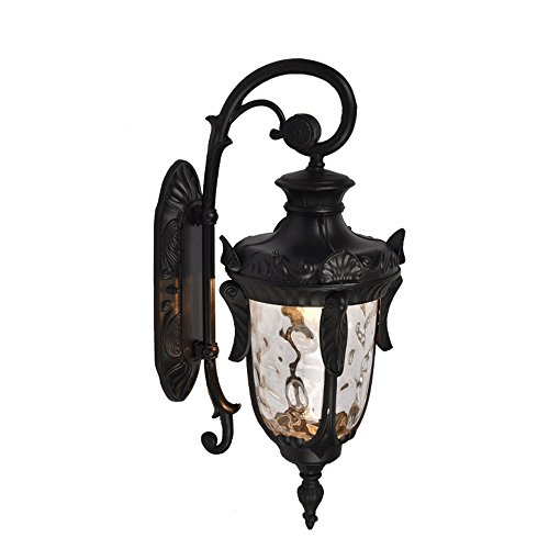 Europäische Luxus-High-Schmiede Aluminium Outdoor-Türsäule Wasserdichte Wandlampe; Antike Villa Garten Korridor Treppe Türsäule Kreative Wand Lampe E27 (Drei Farben Optional),Black