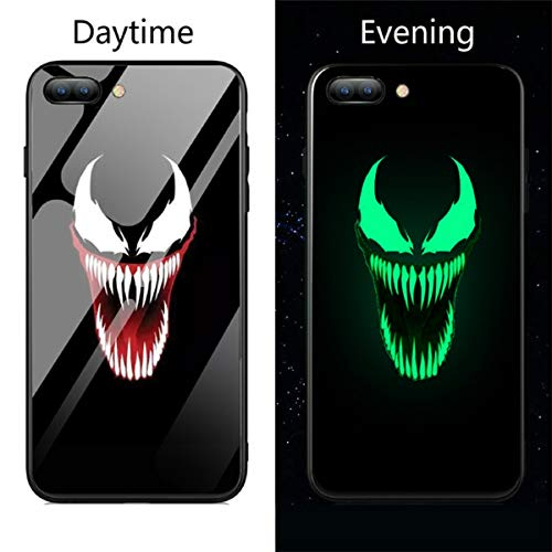 Lovely Cases Store Marvel Deadpool Venom Villain Super Hero - Carcasa de cristal templado luminoso para iPhone 6, 6S, 7, 8 Plus X XS XR XS Max Fashion Back Cover (4, iPhone X)