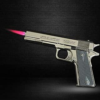 New Windproof Lighter Black Metal Gun Personalized Refillable Butane Gas Gift
