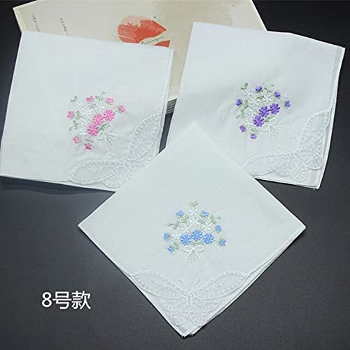 SushiSwap 3pcs Embroidered Butterfly Flower Lace Handkerchief Lady Square Pocket Floral Women Handkerchief Towels 28cm Hanky Zakdoeken H07 - See Chart - 058197