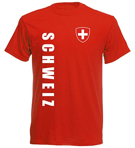 Schweiz Kinder T-Shirt - TS-10 - EM 2016 - rot - Fussball Trikot (152)
