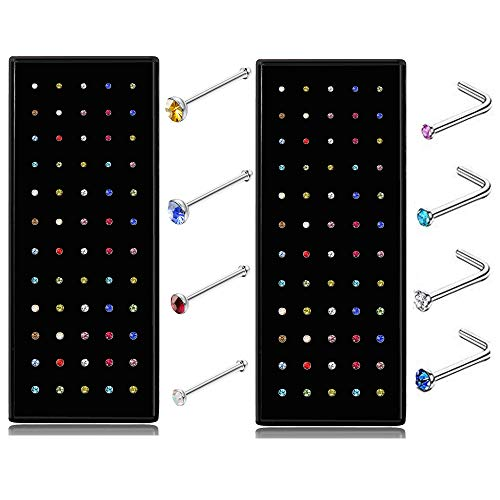 Thunaraz 60-120pcs Stainless Steel Nose Studs Rings Piercing Pin Body Jewelry 22G 1.5mm 2mm 2.5mm (D:120PCS Colorful)