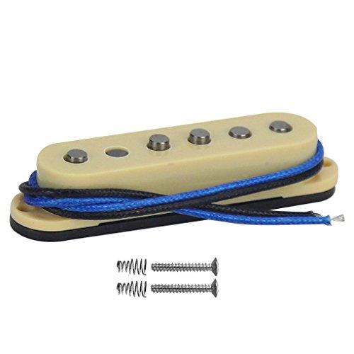 FLEOR Vintage Single Coil Pastilla intermedia Alnico 5 Placa de fibra Bobina Poste escalonado Pastillas de guitarra para guitarra eléctrica Estilo Stratocaster, Crema