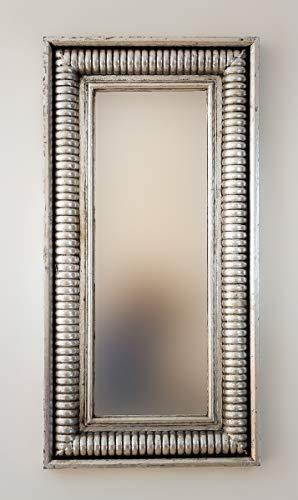 Rococo Espejo Decorativo de Madera Bambu Aget de 50x100cm en Plata (Envejecida)