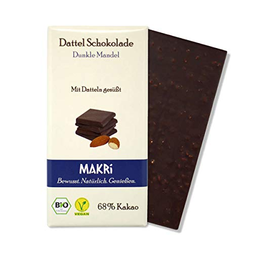 MAKRi Dattel Schokolade - Dunkle Mandel 68% Kakao | Vegane Schokolade mit Datteln gesüßt | Ohne raffinierten Zucker | Laktosefrei | Bio Zartbitter (1x 85g)