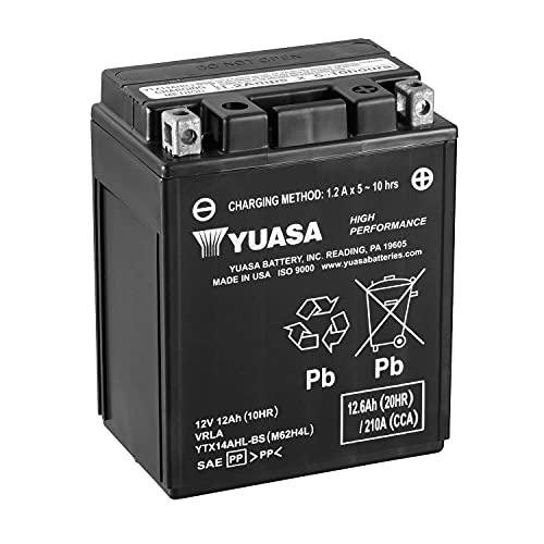 Batería moto Yuasa YTX14AHL-BS - Sin mantenimiento - 12 V 12 Ah - Dimensiones: 134 x 89 x 166 mm compatible con Yamaha SV125E Sno-Scoot 125 1990-1991