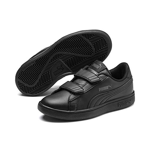 Puma Unisex-Kinder Smash v2 L V PS Sneaker,Schwarz (Puma Black-Puma Black), 34 EU