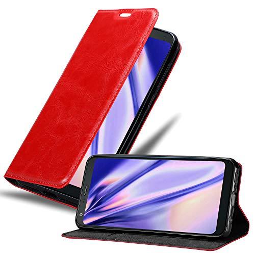 Cadorabo Hülle für LG Q7+ (Plus-Version) in Apfel ROT - Handyhülle mit Magnetverschluss, Standfunktion & Kartenfach - Hülle Cover Schutzhülle Etui Tasche Book Klapp Style
