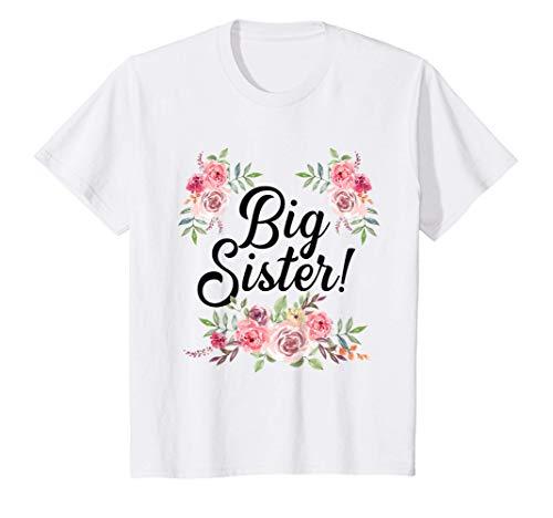 Niños Linda hermana mayor con diseño floral niña pequeña Camiseta