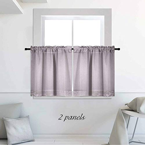 Grey Blackout Short Curtains Rococo Style Framework Ornaments Old Fashioned Antique Design Retro Borders 30 x 36 inch Window Covering Kitchen Cafe Curtains