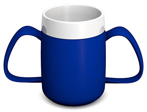 Ornamin 2-Henkel-Becher mit Trink-Trick 140 ml blau (Modell 815) / Spezial-Trinkhilfe, Tremor-Becher