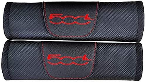 2Pcs Almohadillas Cinturón de Seguridad de Coche para Fiat 500L, Fibra de Carbono Hombreras Protectores Accesorios de Styling de Interiores de Automóviles