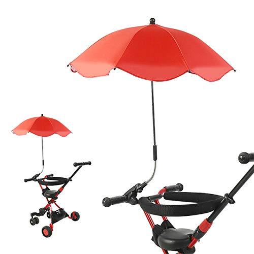 Sombrilla para cochecito Sombrilla para cochecito ajustable de 360 grados Sombrilla cubierta para toldo Accesorios para cochecito Suministros para caminar para bebés-Rojo