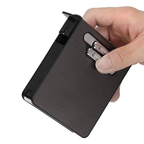 minifinker Caja de Cigarrillos, Caja de Cigarrillos automática portátil de Gran Capacidad con expulsión automática de Carga USB para Hombres para Regalo(Black)