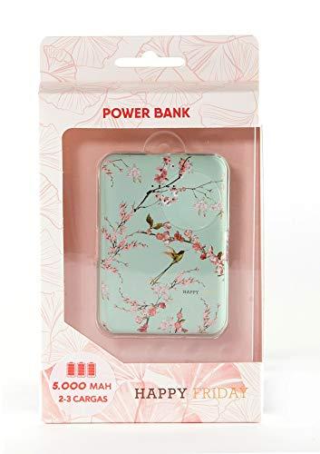 Bateria Externa portatil para movil, Power Bank 5.000 mAh, Chinoiserie Mint Happy Friday