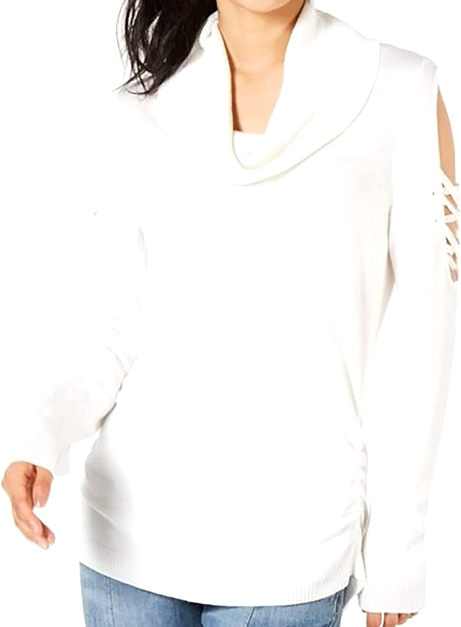 Hooked Up by IOT | Juniors' Cowlneck Cold-Shoulder Sweater | Vanilla | XL