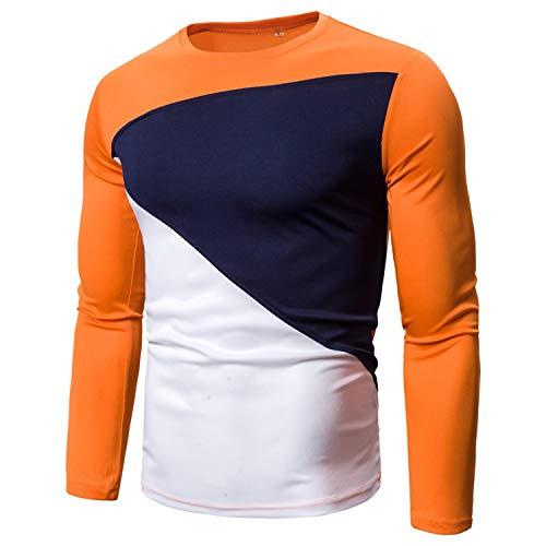 New Solid - Camiseta de Manga Larga para Hombre (Cuello Redondo, Cuello Redondo) Naranja M